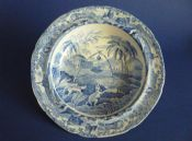 Rare Spode Indian Sporting Series 'Common Wolf Trap' Tart or Pudding Dish c1815